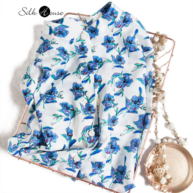 2021 New Spring Dress Rose Colored Mulberry Silk Crepe De Chine Lapel Long Sleeve Silk Shirt