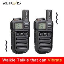 Mini Walkie Talkie PMR RB615, recordatorio de vibración, 2 uds., PMR446, PMR, Radio FRS VOX, con manos libres, Radio bidireccional, clonación inalámbrica