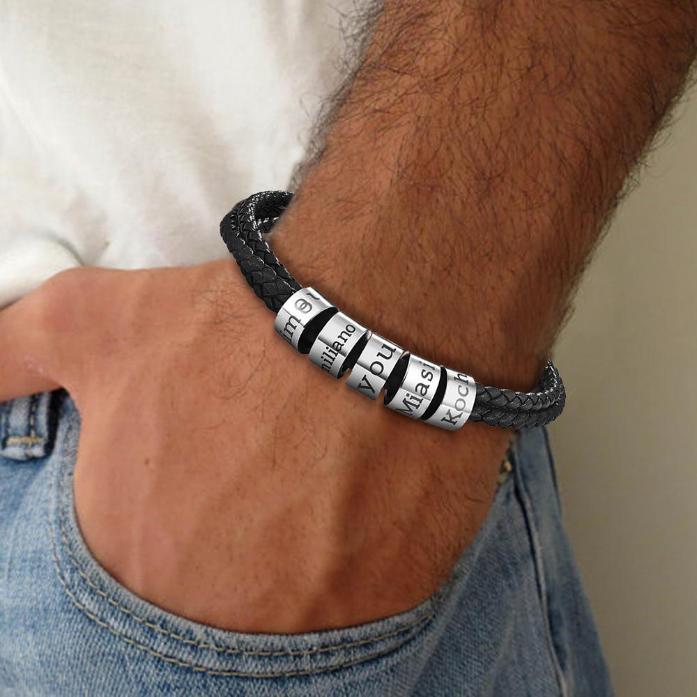 Personalisierte Name Armband Sitte Edelstahl Schließe Multilayer Schwarz Leder Armband Mann 2020 Angepasst Schmuck Geschenk
