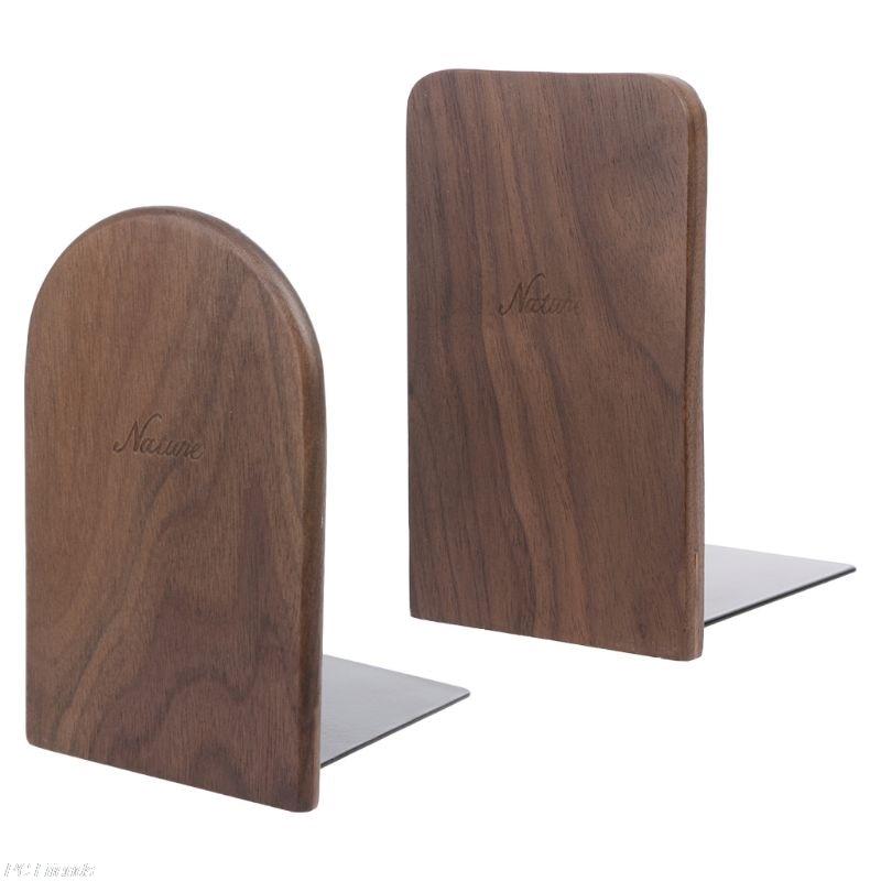 Walnut Wood Book Stand Desktop Organizer Desktop Office Home Bookends Book Ends Stand Holder Shelf 13x8cm X6HA