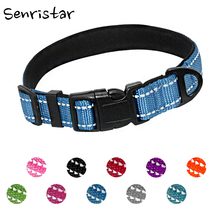 Nylon Reflective Padded Dog Collar For Small Medium Large Dogs Cats Durable Soft Safe Pitbull Puppy Pet