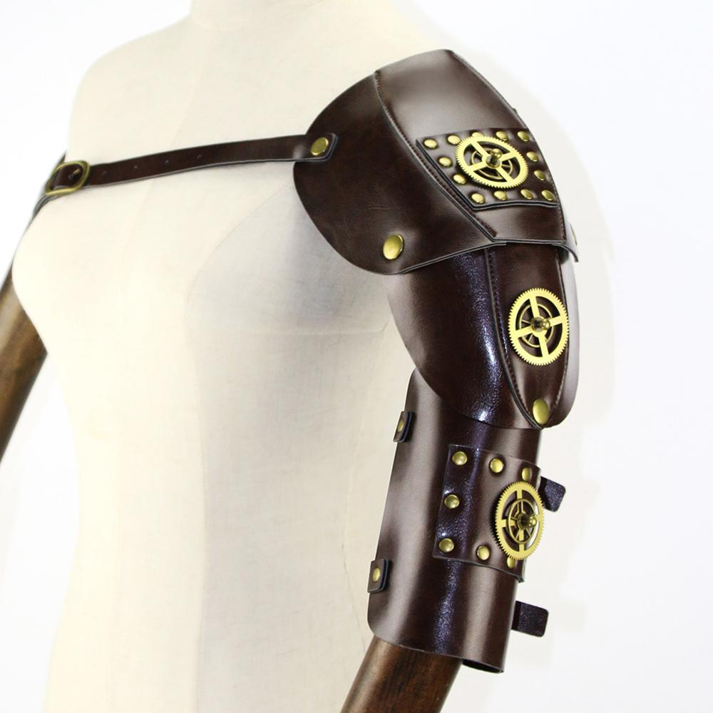 Gear Duke Brown Pu Leather With Gear Wheel Gold Vintage Steampunk Armor Anime Cosplay Props Halloween Party Accessories
