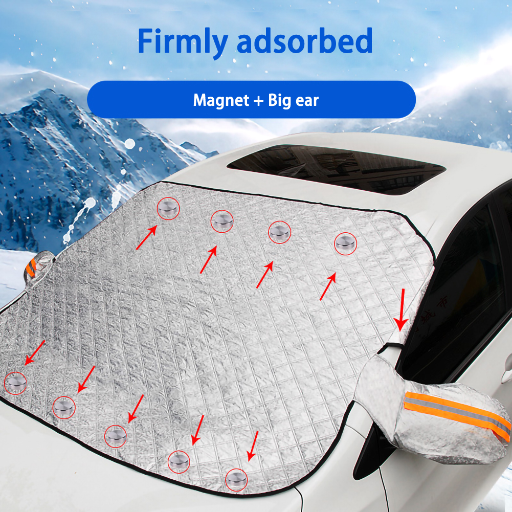 190 116cm Magnetic Car Windshield Snow Cover Tarp Winter Ice Scraper Frost Dust Guard Sunshade Protector