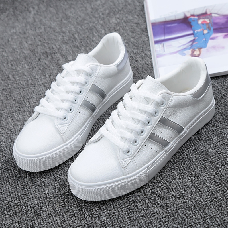 Shoes Woman New Fashion Casual Platform Striped PU Leather Classic Cotton Women Casual Lace-up White Winter Shoes Sneakers