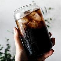 500ml Cola glass cup Nordic minimalista latte birra succo tazze per bevande fredde soffiaggio manuale lattina giapponese utensili per bere con cannucce
