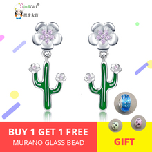 StrollGirl New Summer series Cactus Flower Stud Earrings 925 Sterling Silver Fashion Jewelry For Women Free shipping