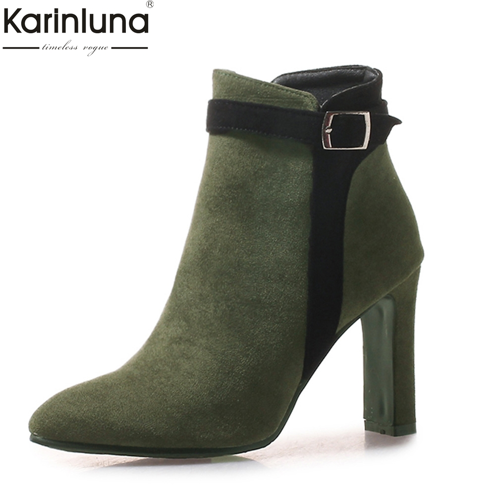 Karinluna 2019 top qaulity sexy big size 43 sexy 9cm high heels shoes woman boots female shoes office lady ankle boots women