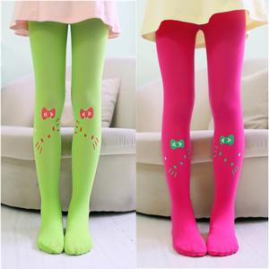 Girl Tights Cat Print Children Kids Pantyhose Velvet Fabric Princess Party Dance Tights Girl Stockings 3-9T Tights Spring Summer
