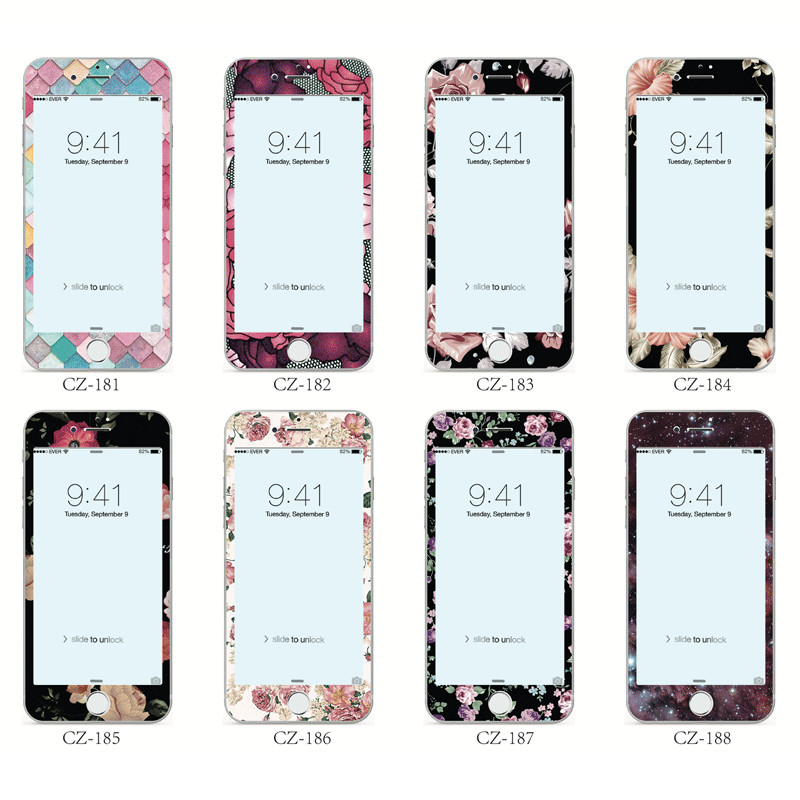 Flowers Fruit Pattern Cute Tempered Glass For IPhone 8 7 6 6S Plus 3D Soft Edge Screen Protector Front Film Full Screen Glass