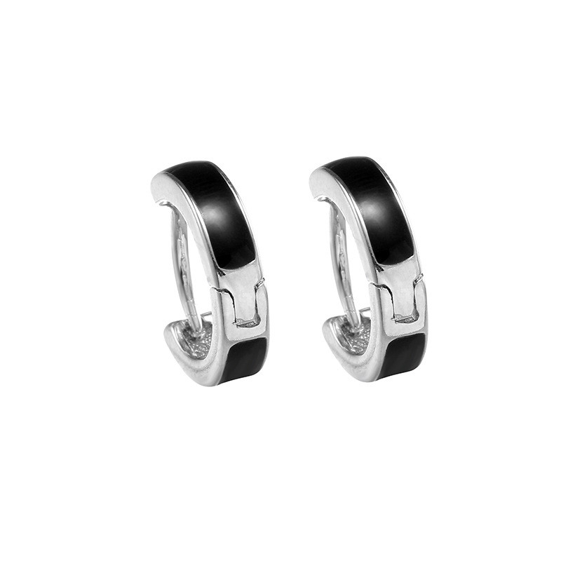 925 sterling silver Stud earrings Simple black and white ear clip Womens fashion jewelry wholesale