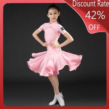 2020 Latin Dance Dress Children Performance Wear Girl Latin Competition Standard Dress Rumba Cha Cha Samba Salsa Clothes DQS4102