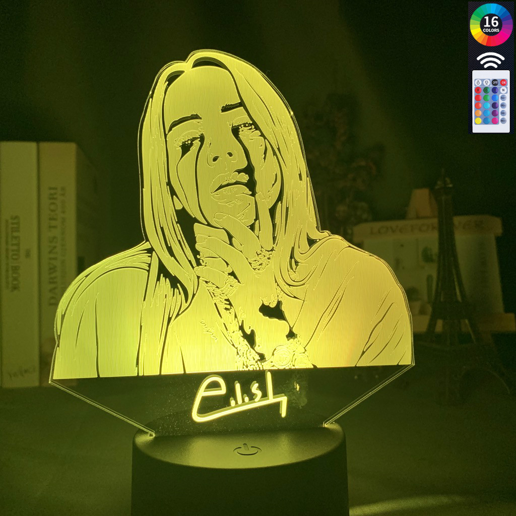 3D Nightlight American Singer-songwriter Billie Eilish Figure Illusion Lamp 16color With Remote Control