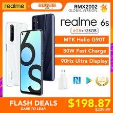Realme 6s wersja globalna 6GB RAM 128GB ROM 90Hz wyświetlacz 30W ładowarka Flash 48MP Quad aparaty Helio G90T wielojęzyczny sklep google Play