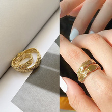 Twine Woven Snake Chain Double Layer 14K Gold Plated Index Finger Rings For Lady Fashion Cool Female Gold Accessories Snake Ring
