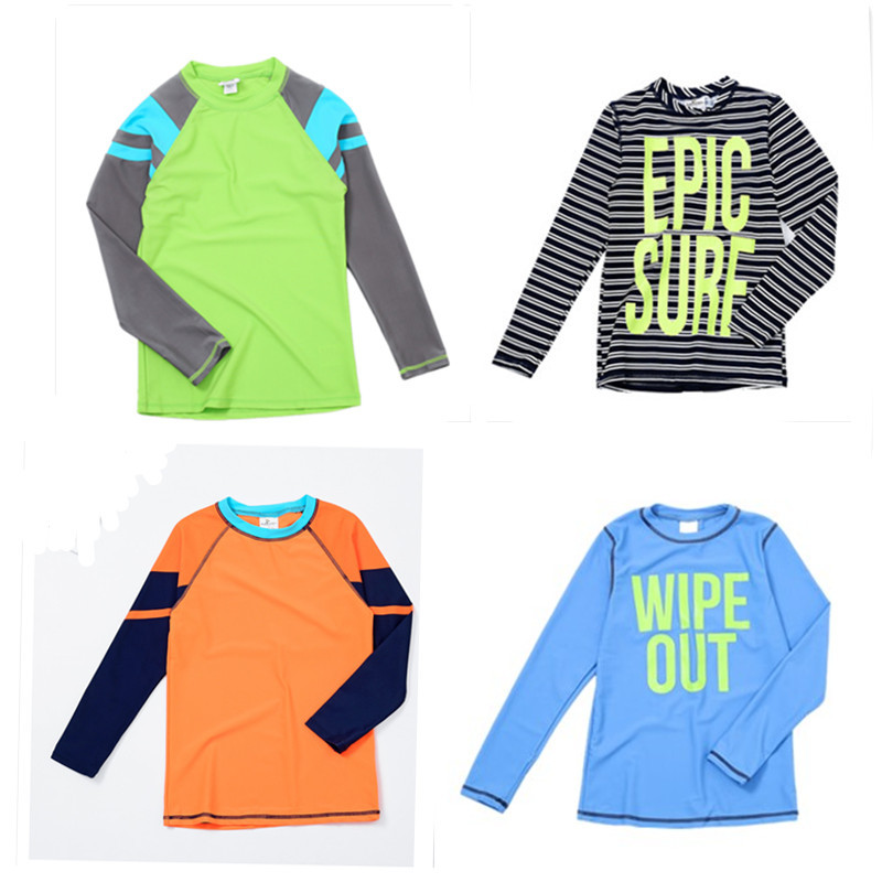 Good Goods Europe And America Boys' Long-sleeved Swimsuit Sun Protection Clothing Surfing Shirt Big Kid Jellyfish Diving Quick-D