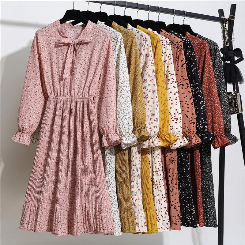 2020 Women Casual Spring Summer Dress Lady Korean Style Vintage Floral Printed Chiffon Shirt Dress Long Sleeve Bow Long Dress