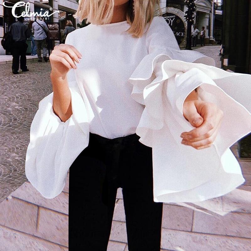 Plus Size Solid Tops Blouse Women Elegant Shirts Celmia Casual Loose Sexy Ruffles Long Sleeve Round Neck Ladies Blusas Femininas