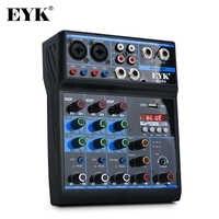 EYK ECR4, Mezclador de audio con tarjeta de sonido, Consola de mezclas estéreo de 4 canales, con Bluetooth y USB, para PC Computer Record Playback Webcast Party