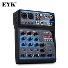 EYK – Console de mixage Audio ECR4, avec carte son, 4 canaux, stéréo, Bluetooth, USB, pour PC, enregistrement, lecture, diffusion web, fête