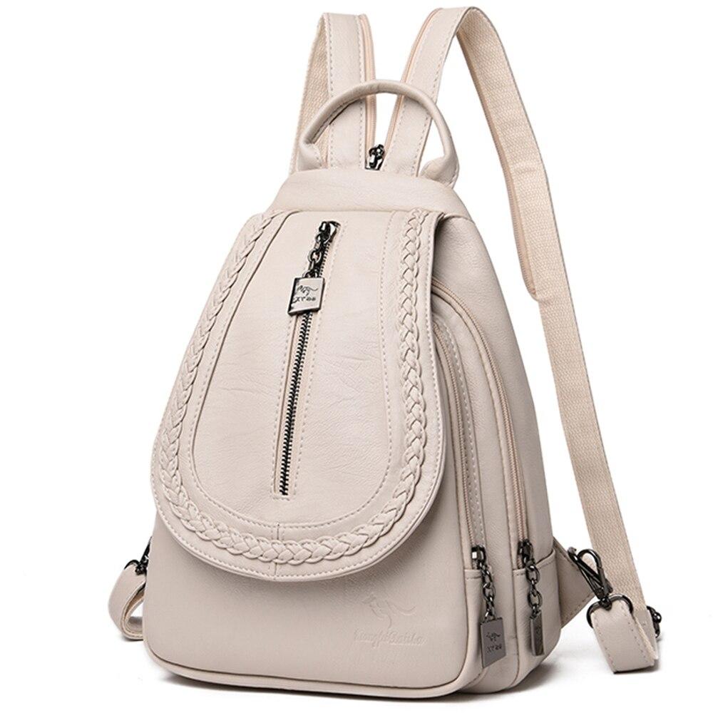 Bagaj ve Çantalar'ten Sırt Çantaları'de Kadın Deri Sırt Çantaları Fermuar Kadın Göğüs Çantası Kese Dos Seyahat Sırt çantası Bayanlar Sırt Çantası Mochilas Okul Çantaları Genç Için kızlar title=