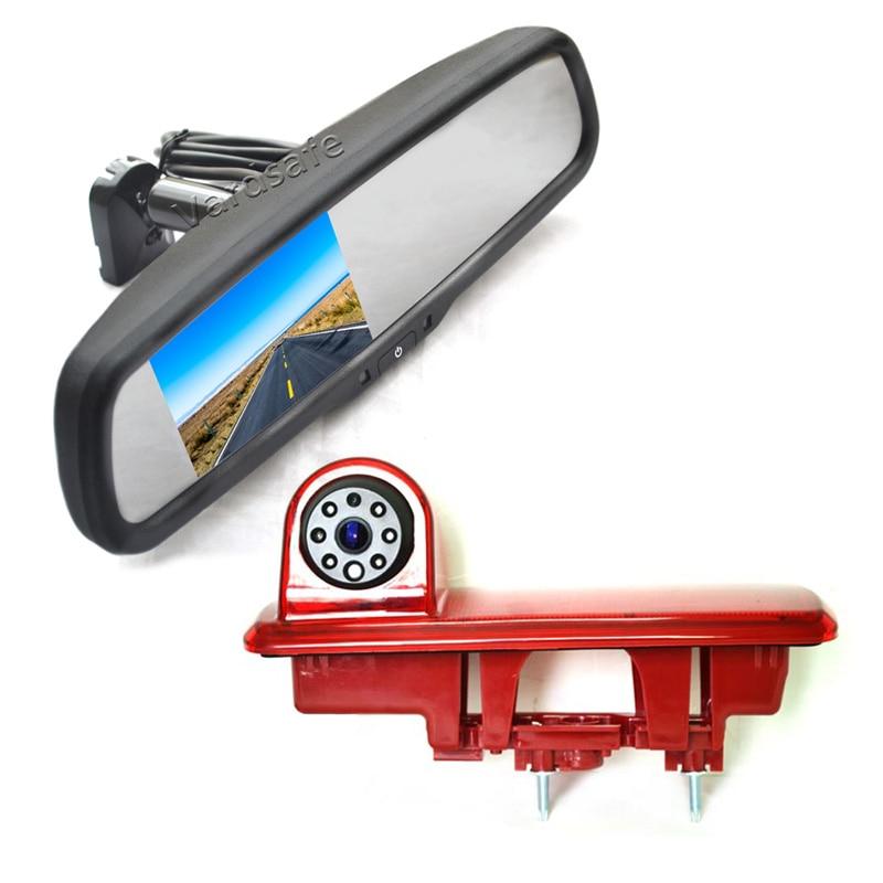 〔12mm Lens CMOS Camera 4.3 TFT LCD Monitor〕Car HD waterproof 3rd Brake Light Reverse Camera Kit for Fiat talento Nissan NV300 Renault Trafic III Primastar Opel//Vauchall Vivaro