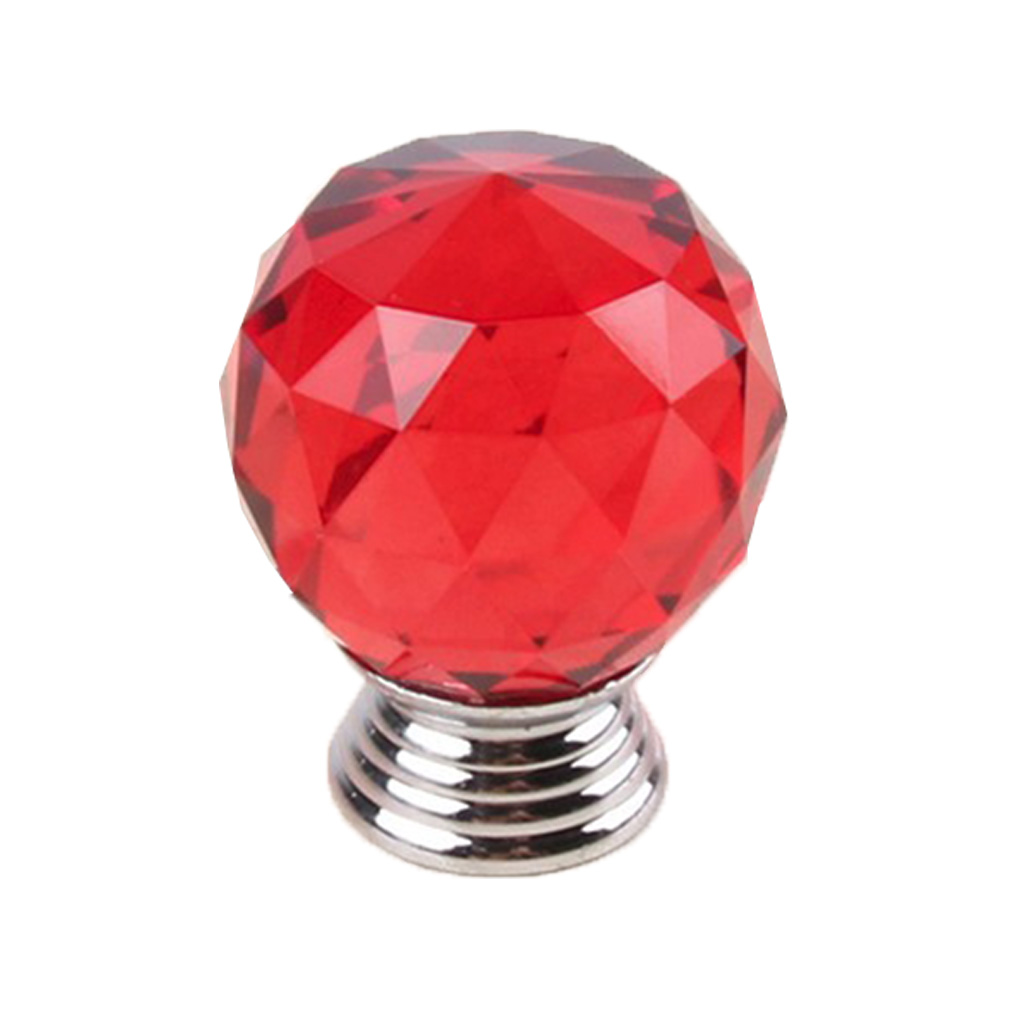 1pc/10pcs Red Transparent Crystal Glass Spherical Handle Drawer Dressing Table Cabinet Handle Furniture Hardware Accessories