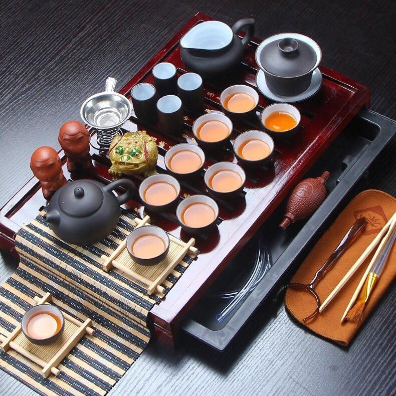 Vendita calda Yixing Ceramica Kung Fu Tea Set Massello di Legno Vassoio Del Tè Teiera 27-pezzo di Tè Vestito di Tè Cinese cerimonia