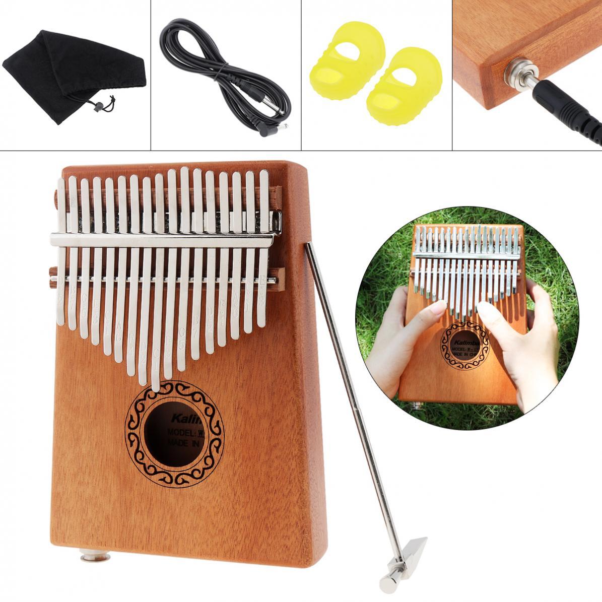 Kalimba com Acessórios Chave Eletroacústica Kalimba Placa Única Mogno Polegar Piano Mbira Mini Teclado Instrumento 17