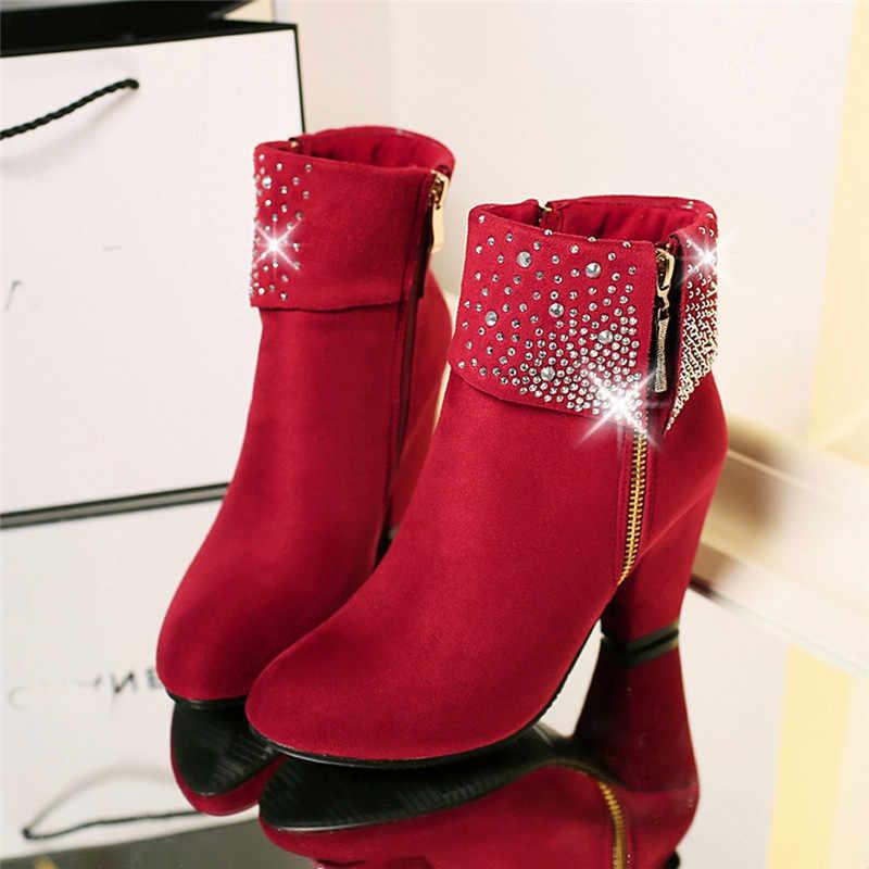 Kırmızı kristal çizmeler kadın 2018 yarım çizmeler kadınlar için yüksek Heell kış ayakkabı kadınlar sıcak fermuar botları boyutu 43 Botas Mujer o1