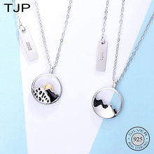 TJP S925 Pure Silver Mountain Sea Can Be Flat Couple A Pair of Necklace Lover Gift
