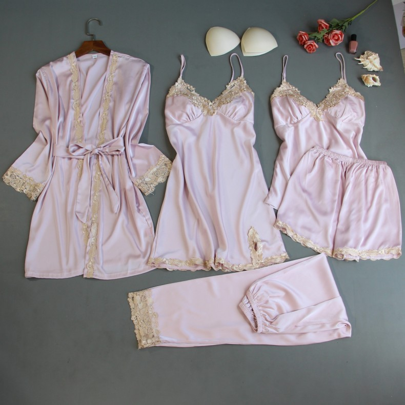 Robe Sets 5 Pieces Robe+Nightdress+Top+Shorts Silk Satin Bathrobe Set Summer Sleepwear Lace Nightwear Set For Women Pijama Mujer