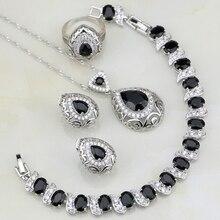 Buddha Geformt Schwarz Zirkonia Weiß CZ 925 Silber Schmuck Sets Für Frauen Hochzeit Armbänder/Halskette/Anhänger/ohrringe/Ring