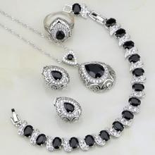 Buddha Shaped Black Cubic Zirconia White CZ 925 Silver Jewelry Sets For Women Wedding Bracelets/Necklace/Pendant/Earrings/Ring