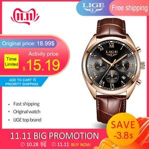 Image 1 - LIGE montre de Sport en cuir pour hommes, marque de luxe, étanche, Date de 24 h, Quartz, 2020