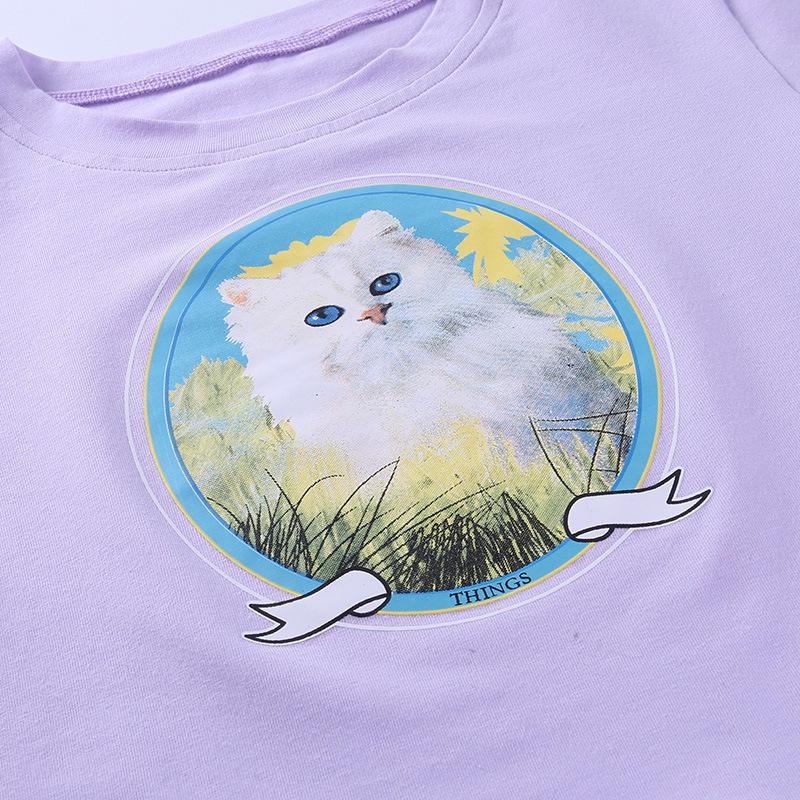 Женская футболка с принтом кота lofia повседневная облегающая