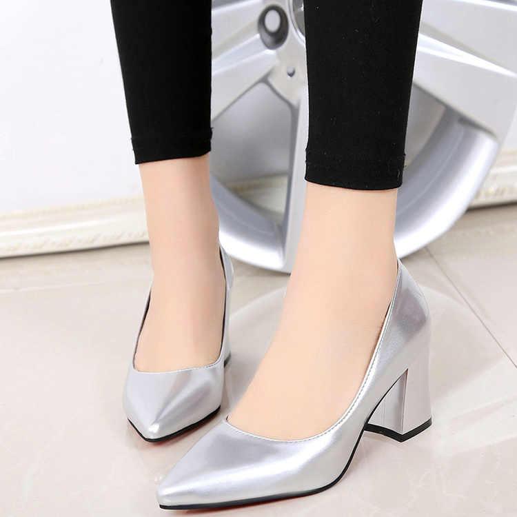 Elegant War Dünne Einzelne Schuhe OL Berufs Womens Schuhe Spitz Schwarz Arbeit Schuh Studenten Patent Leder Dick mit High Heels