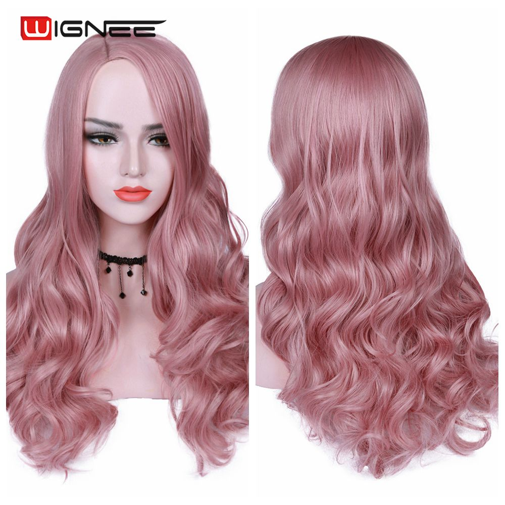 Wignee Pink Hair Synthetic Wig Long Wavy Wigs Heat Resistant For Women Daily/Party Natural Black to Brown/Purple/Ash Blonde Wig