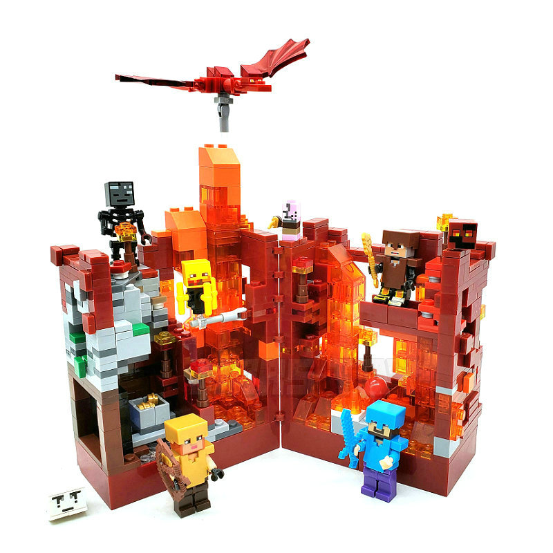 The Nether Lava Mine Cave Building Blocks With Steve Action Figures Compatible Lepining MinecraftINGlys Bricks Set Toys 21137