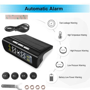 Universal 4 tyres car tire pressure monitoring systems external sensors auto wheel pressure gauge tester security alarm bar psi(China)