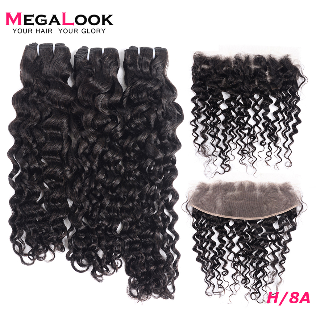 Brazilian Water Wave Bundles With Closure P/9A Can Make Into Wig Remy Human Hair Bundles With Closure 3 Bundles With Frontal