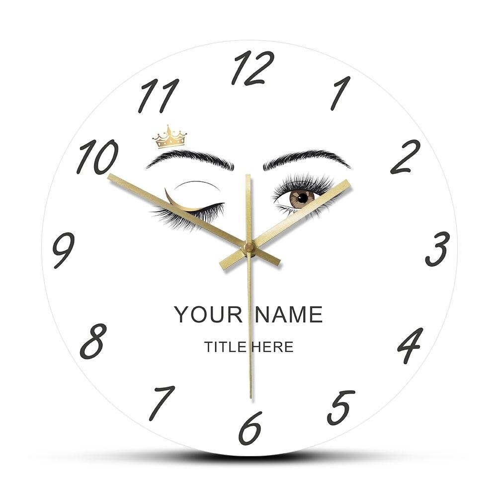 Eyelashes Extensions Beauty Salon Custom Acrylic Wall Clock Lashes Queen Wink Eye Crown Eyebrows Makeup Studio Time Clock