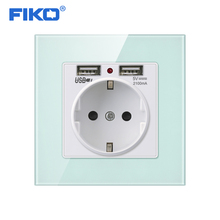 FIKO Green Pink Colorful Crystal Glass Panel Dual USB Charging Port 2.1A 16A Russia Spain Wall Socket EU Power Outlet fiko wall crystal glass panel power socket plug grounded 16a eu standard electrical outlet 86mm 86mm
