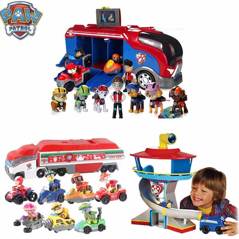 Paw Patrol Birthday Gifts Bus With Music Puppy Patrol Action Figures Patrulla Canina Lookout Tower Car Toys For Children D67