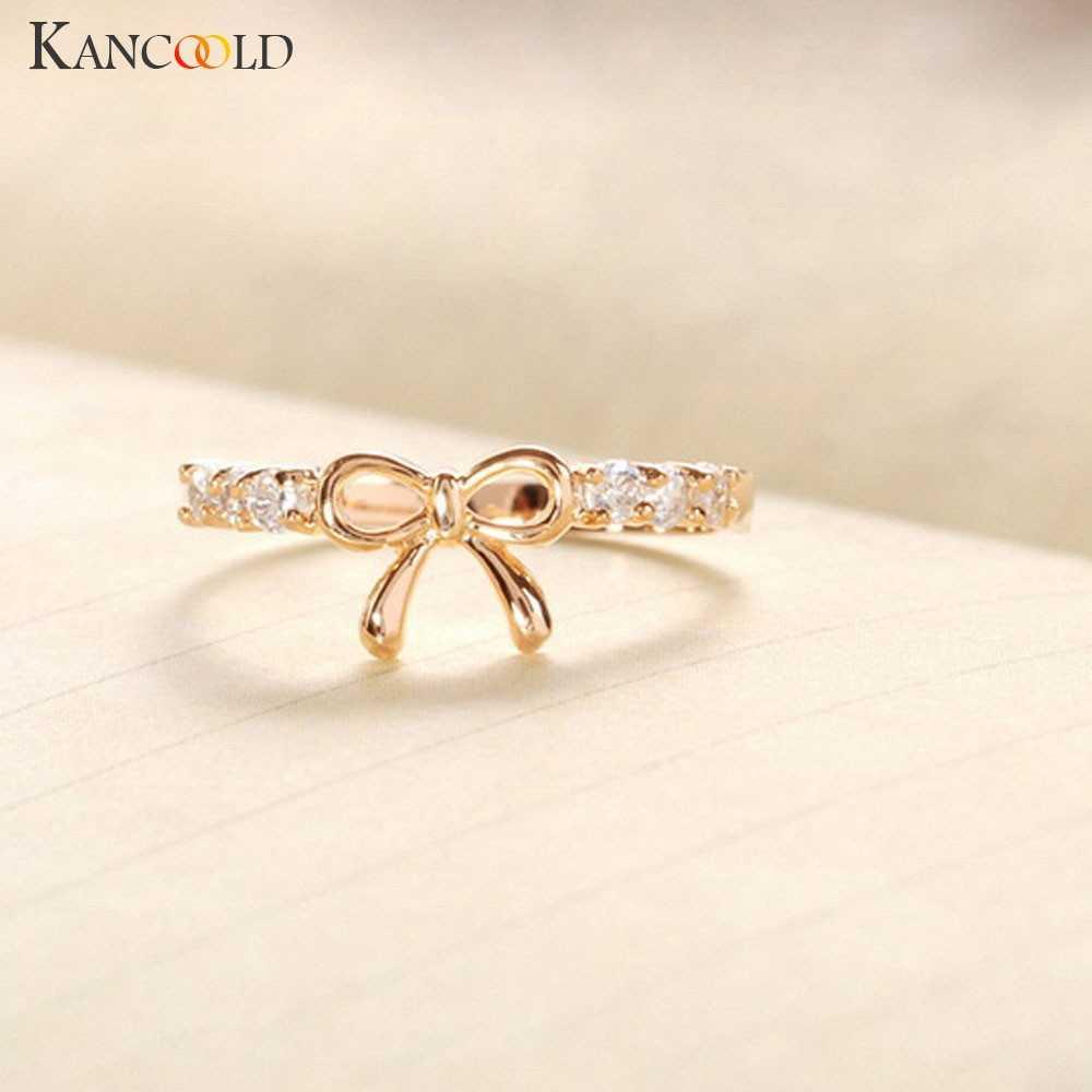 Neue Ankunft Flawless Ringe Schmuck Koreanische Kristall Bogen Ring Schmetterling Form Schmuck ringe für frauen ring halter