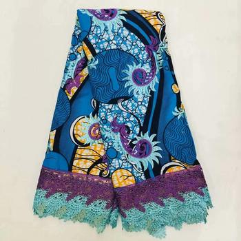 Nice Party Dress Wax Cloth Embroidery African Real Ankara Printed Wax Cord Lace Fabric For Dress  WLF245(6yards/lot)