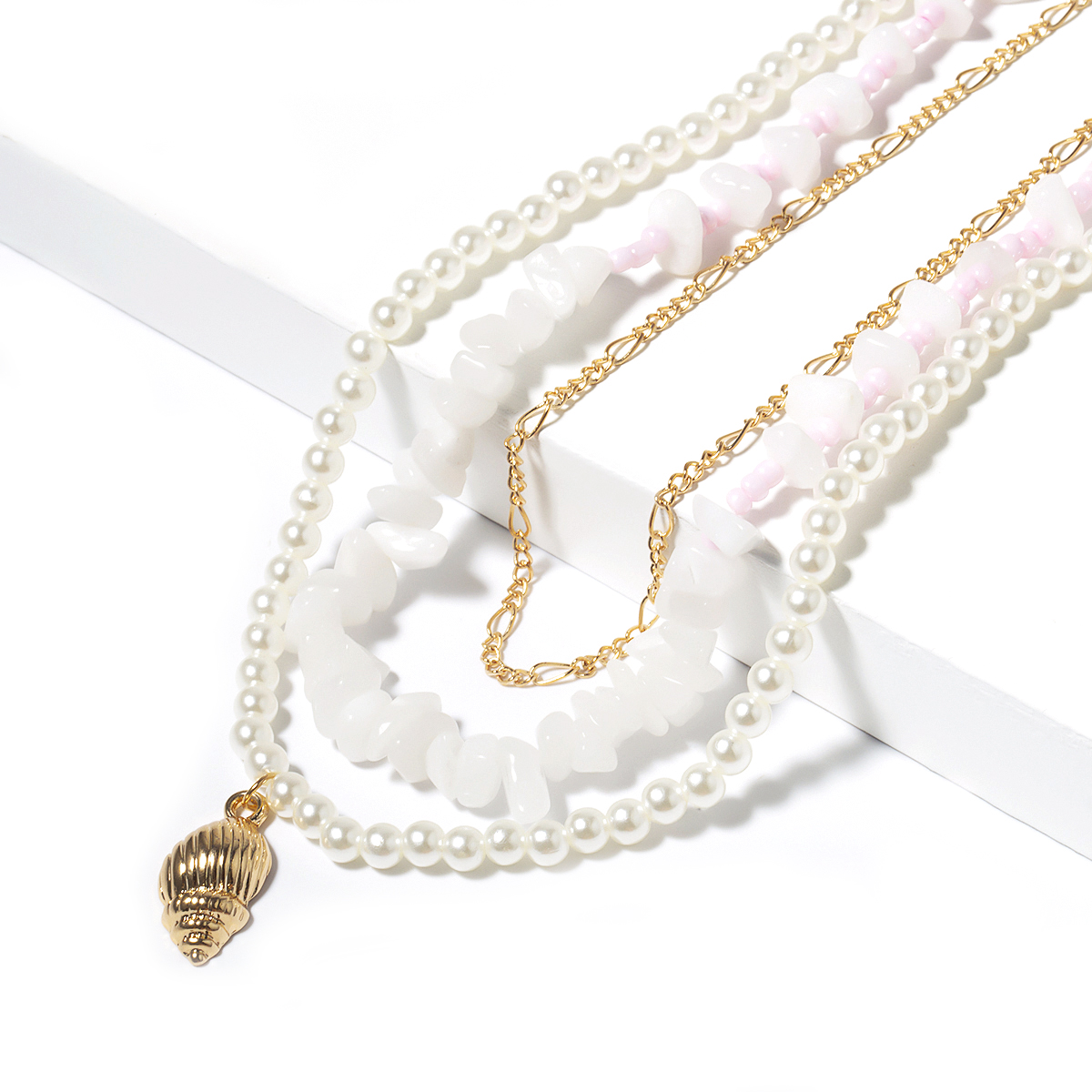 Lacteo Bohemian Multi Layer Golden Conch Shell Pendant Necklaces Women Fashion Pearl Collar Chain Choker Necklace Female Jewelry in Pendant Necklaces from Jewelry Accessories