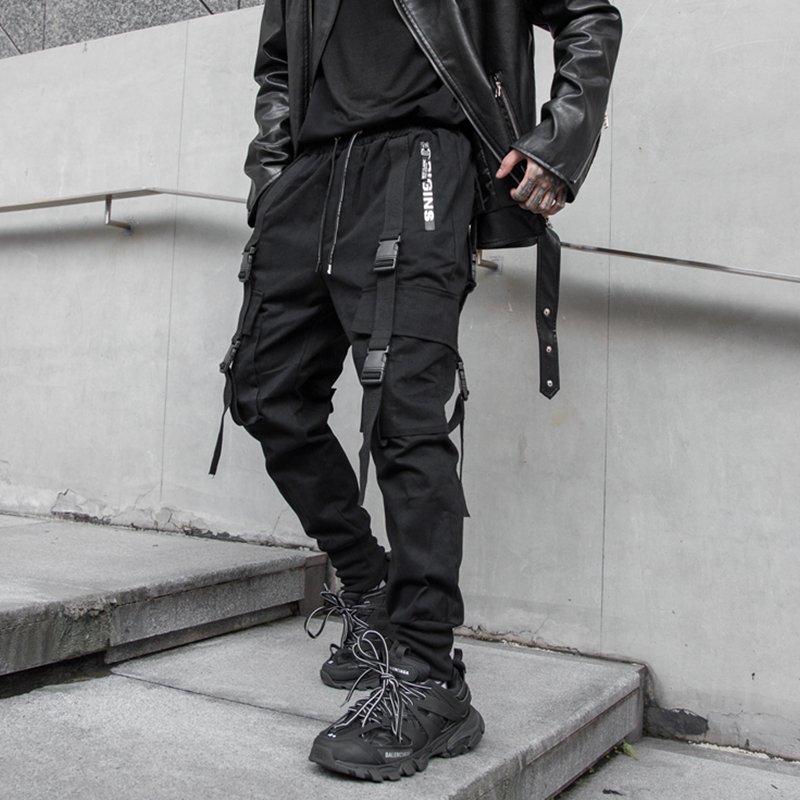 NEW Side Zipper Pockets Darkly Style Ribbons Hip Hop Men's Cargo Sweatpants Joggers Trousers Fashion Full Length Pencil Pants