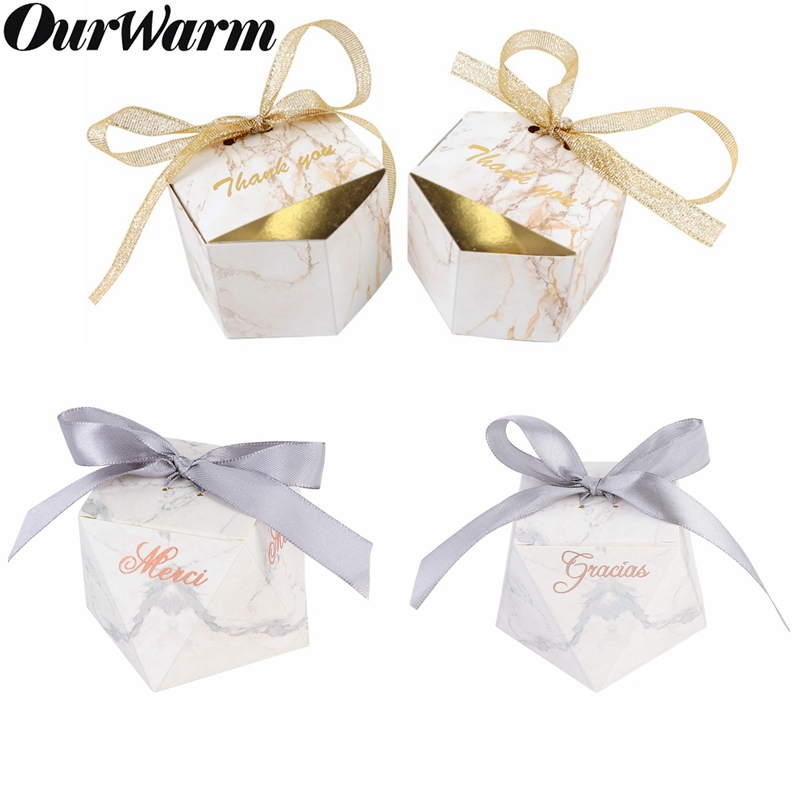 OurWarm 10pcs Marble Candy Boxes Wedding Decoration Party Favors And Gifts For Guest Diamond Shape Paper Boxes