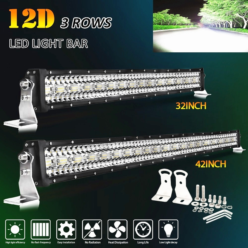 CO LIGHT 3-Rows LED Bar 12D 22 32 42 50 52 Inch LED Light Bar Combo For Jeep Driving Offroad Boat Tractors Truck 4x4 SUV 12V 24V