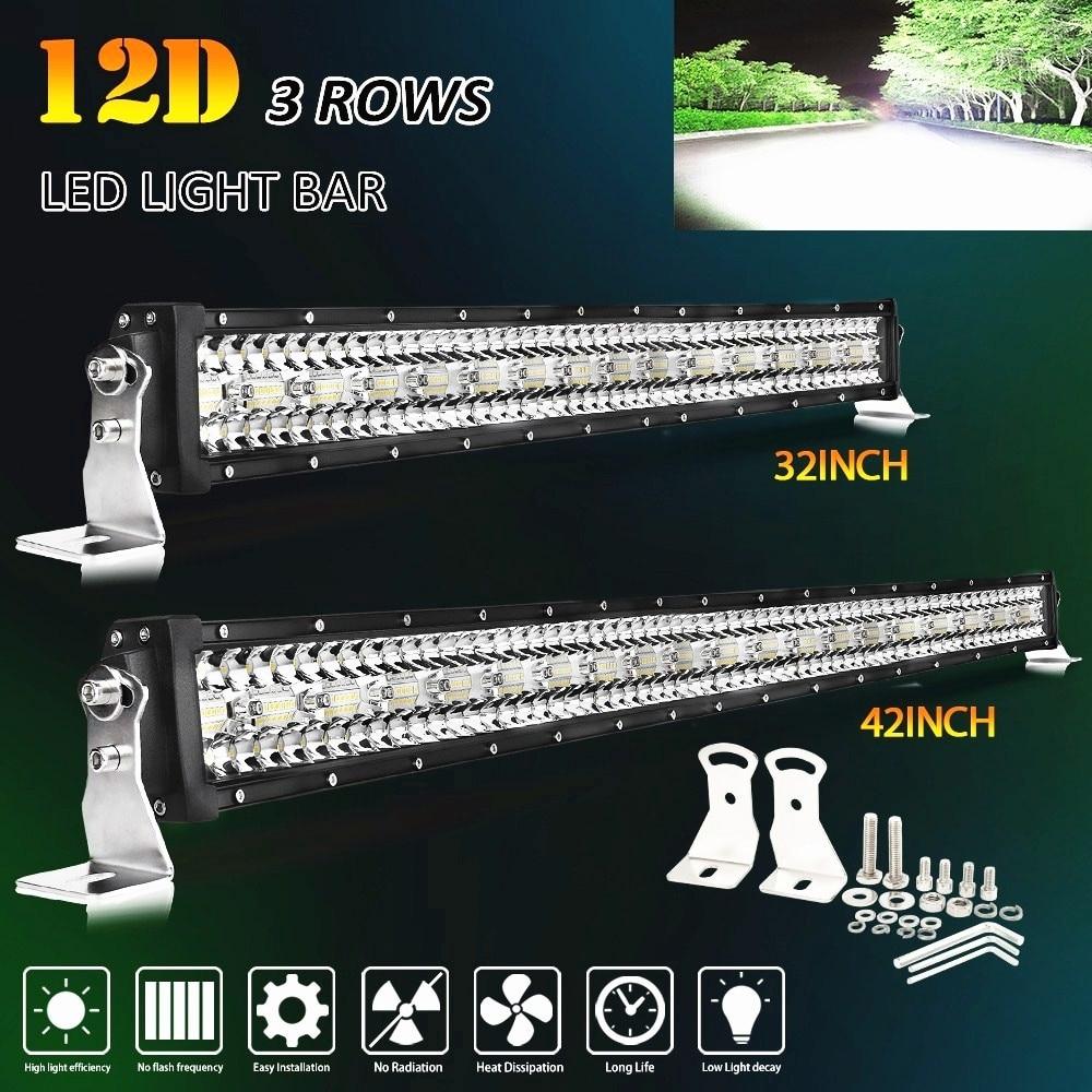 O co ilumina 3-linhas conduziu a barra 12d 22 32 42 50 52 polegada conduziu a barra clara combo para lada que conduz o caminhão 4x4 suv dos tratores do barco offroad 12v 24v
